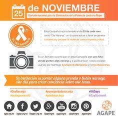 """""""16 DÍAS DE ACTIVISMO CONTRA LA VIOLENCIA DE GÉNERO""""  EL DÍA NARANJA (Día Internacional para la Eliminación de la Violencia contra la Mujer) #HazConciencia #HumanTrafficking #AGAPE #InfografiaAGAPE #DíaNaranja #orangeurworld  https://instagram.com/p/-wFRiVOWgk/"""