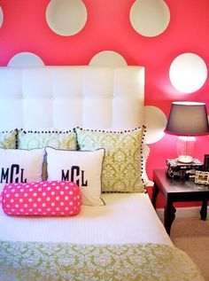 Definitely NO white bedspread or headboard for her, but maybe in another color combo. Love the dots!