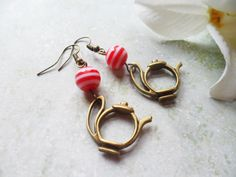 Whimsical teapot earrings with stripy red and white beads, Selma Dreams brass jewelry, fun Christmas gifts for her, secret santa gift by SelmaDreams on Etsy