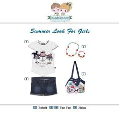#Summer #look for #girls from #Boboli #TucTuc and #Haba. Perfect for #casual #outfits. Check at www.kidsandchic.com/girl    #girlsclothing #girlsfashion #kidsfashion #trendychildren #kidsclothing #shoppingbarcelona #tshirts #print #yewerly #shorts #denim #whitecolor #bag #navycolor