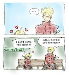Edward is from Full Metal Alchemist. Vash is from Trigun. Me Me Me Anime, Anime Love, Manhwa, Manga Anime, Anime Art, Alphonse Elric, Saturday Morning Cartoons, Edward Elric, Vash