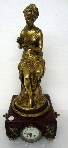 Antique French Dore Bronze & Marble Figural Mantle Clock