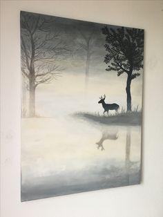 Canvas schilderij hert in de mist