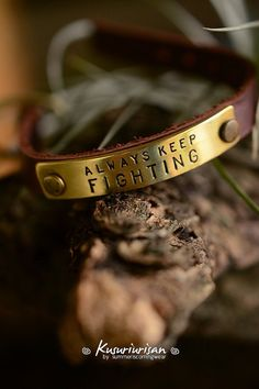 Always keep fighting on brass tag with brown Leather Bracelet Cuff with buckles