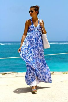 blue and white houndstooth maxi dress - Google Search