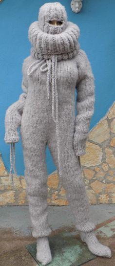Catsuit, Mohair Yarn, Balaclava, Raglan, Sweater Outfits, Leg Warmers, Hand Knitting, 30th, Overalls