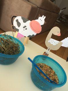 Alimentando os bichinhos!  Bichinhos feitos com papel cartão, limpador de cachimbo, palito de picole, eva