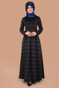** SONBAHAR / KIŞ ** Önü İnci Detay Pileli Elbise Saks Ürün Kodu: NWL13324 --> 109.90 TL