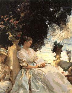 John Singer Sargent. In a Garden, Corfu (Jane Emmet de Glehn), 1909. Wilfrid Gabriel de Glehn and Jane de Glehn were great friends and constant traveling companions of John Singer Sargent.