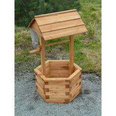 Wooden Wishing Wells   Wooden Garden Wishing Well Planter - Riverside Woodcraft
