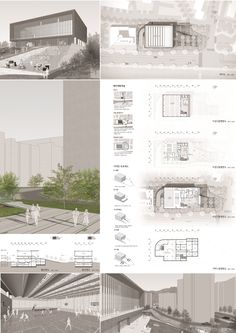 도봉동 다목적체육센터 신축 설계공모 Architecture Portfolio Layout, Revit Architecture, Cultural Architecture, Landscape Architecture Design, Architecture Visualization, Architecture Board, Concept Architecture, Portfolio Design, Architecture Diagrams