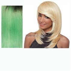 Janet Premium Synthetic Fiber Wigs Flora - Color PT1B/GRE/L.G - Synthetic Regular Wig