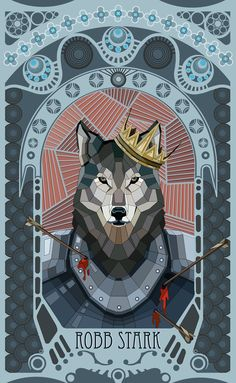 Stained Glass Game of Thrones character art, King in the North, Robb Stark/Grey Wind
