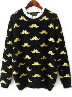Black Long Sleeve Moustache Print Mohair Sweater - Sheinside.com