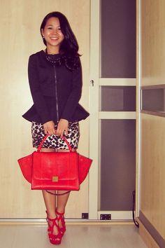 :: Peplum & Animal Print :: Celine Trapeze in Red Python :: Topshop, Zara :: Street Fashion. Street Style.