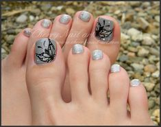 Pedicure, Toe Nail Art: Grey Butterfly