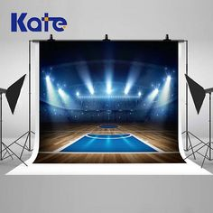 Night Lights Indoor Basketball Arena Photography Backdrops