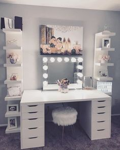 Impressions Vanity Hollywood Reflection® Plus Make. - Impressions Vanity Hollywood Reflection® Plus Makeup Vanity Mirror with Lights - Cute Room Decor, Teen Room Decor, Room Ideas Bedroom, Bedroom Decor, Bedroom Small, Bedroom Ideas For Small Rooms, Ikea Room Ideas, Design Bedroom, Ikea Teen Bedroom