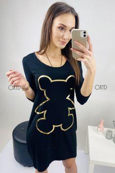 Čierne športové šaty s 3/4 rukávom Graphic Tank, Modeling, Tank Tops, Casual, Outfits, Dresses, Women, Fashion, Vestidos