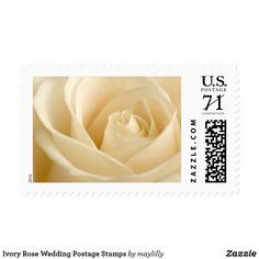 Ivory Rose Wedding Postage Stamps