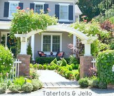 """Could we use this design of pergola against the wall of the garage or bedroom window?? Love the arch and short """"wings"""""""