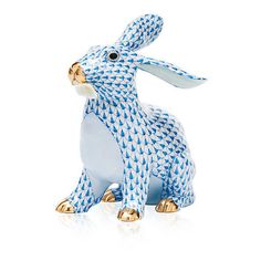 Herend  Bunny With Daisy - Blue (1 085 AUD) ❤ liked on Polyvore featuring home, home decor, rooster plates, rooster figurines, bunny plates, blue plate and rabbit figurines