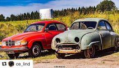 Lurer på hva slags historier de bilene kan fortelle oss om sine turer. #reiseliv #reisetips #reiseblogger #reiseråd  #Repost @ce_lind (@get_repost)  Nostalgitripp!! Första och sista utgåvan på samma ställe  SAAB 92 1949 och 1980 altså 31 års skillnad