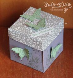 Explosionbox mit Schmetterlingen Blauregen Minzmakrone Kreativ-Stanz Stampin' Up! http://kreativstanz.bastelblogs.de #explosionbox #butterfly