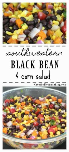Easy recipe for southwestern black bean and corn salad.