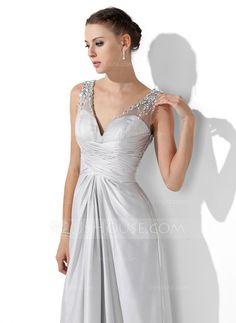 A-Line/Princess V-neck Floor-Length Tulle Satin Chiffon Prom Dress With Ruffle Beading (018004815)