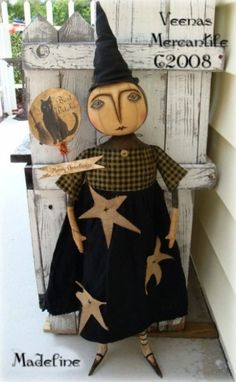 Folk Art Primitive Witch Madeline Doll Pattern Veenas Mercantile