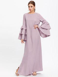Exaggerate Layered Flare Sleeve Slit Kaftan Dress Autumn Ladies Maxi Dresses Purple Long Sleeve Loose Dress Lavender L Hijab Evening Dress, Evening Dresses, African Fashion Dresses, African Dress, Red Fashion, Fashion Outfits, Abaya Designs, Maxi Robes, Islamic Fashion