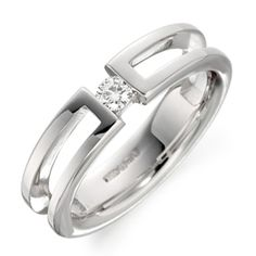 Women's Tension Set Single Diamond Wedding Ring