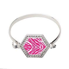 Pink Zebra Print Hexagon Bracelet  http://www.inspiredsilver.com/ #InspiredSilver #jewelry #Bracelet #Zebra #pink