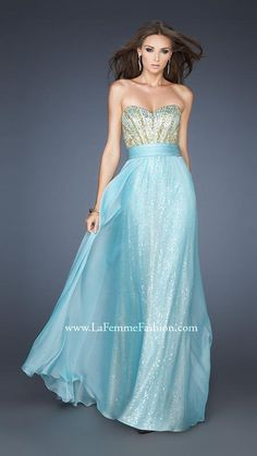 {L0a Femme 18737 | La Femme Fashion 2013} - La Femme Prom Dresses - Elaborate - Strapless - Sweetheart - Embellished Bodice - Sequin base with chiffon overlay - Natural Waist - Long Prom Dress - Homecoming - Pageant
