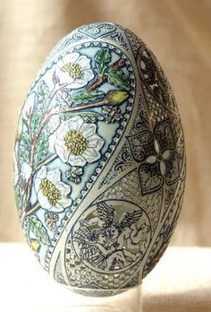 easter eggs - A Hungarian artist , Csuhaj Tunde was born in 1954, she graduated studies in ceramics at the University of the Arts , Pecs, Hungary. Since 1990, she has decorated geese, swan, emu, rhea and ostrich eggs and has produced astonishing Easter eggs. Her techniques are mainly etching, drilling and painting.