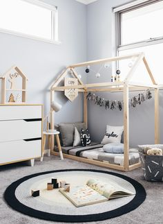 handmade toddler size house shaped bed minimalist cubby for