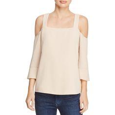 Cooper & Ella Tilde Cold-Shoulder Top ($140) ❤ liked on Polyvore featuring tops, sand, sleeve top, cut-out shoulder tops, flared sleeve top, open-back tops and open shoulder tops