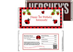 Lady Bugs Birthday Candy Bar Wrappers Party Favors
