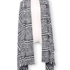 Plaid Tassle Hem Knitted Tweed Casual Thicken Warm Scarf Shawl - Gchoic.com