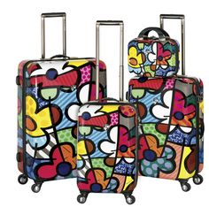 Travel in style with the Britto by Heys USA Flowers 4 Piece Luggage Set!