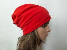Czerwona bawełniana damska czapka - jousi_look - Czapki