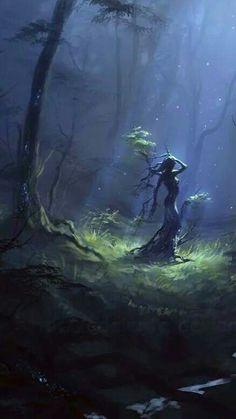 tree spirit in moonlight by Ulyana Regener Fantasy Magic, Fantasy World, Fantasy Concept Art, Fantasy Artwork, Nature Spirits, Fantasy Landscape, Magical Creatures, Fantasy Characters, Vampires