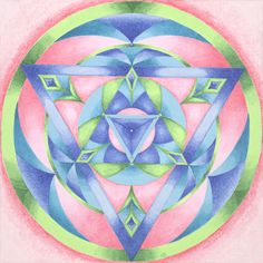 """""""Feminine Principle"""" (Acrylic on Canvas)  Qualities: Calmness, Serenity, Nurturing Love -  The dynamic process of transformation is embodied in this three point radiant. The down-pointing triangle is a symbol of the feminine. The balance of physical and spiritual energy is exemplified in the predominance of pink. Green is the soul of fertility and verdant growth. This growth is supported by turquoise which signifies here the ability to care for oneself and others. www.kaleighsurber.com"""