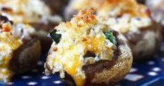 Jalapeno Bacon Stuffed Mushrooms ~ Oh yeah!!  Bacon ~ yes please, Panko bread crumbs ~ a new obsession, jalapeno ~ mmmmm.