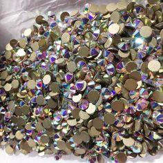 db97a6718f49 Swarovski Crystals gems stones rhinestone non hotfix gold flat back for  nail art and design CRYSTAL AB x 1000 piece