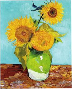 Vincent van Gogh Three Sunflowers in a Vase painting is shipped worldwide,including stretched canvas and framed art.This Vincent van Gogh Three Sunflowers in a Vase painting is available at custom size. Art Van, Van Gogh Art, Vincent Van Gogh, Flores Van Gogh, Van Gogh Flowers, Art Flowers, Van Gogh Pinturas, Sunflower Vase, Sunflower Paintings