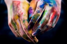 art, paint, hands, dirty, blue, yellow, red, green, purple, photography