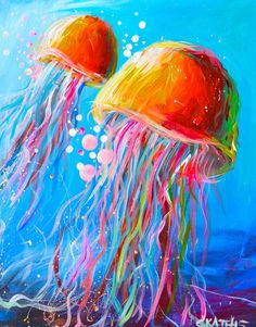 "Join us Saturday, February 28th at 7pm to paint ""Electric Jellyfish""! - Create…"