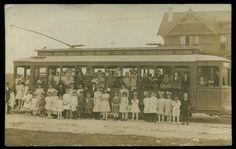 1912 San Antonio Texas Trolley Streetcar full of Kids Trolley Historic Home